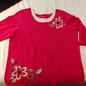 Alfred Dunner 1X Bright Pink Top 3/4 sleeves